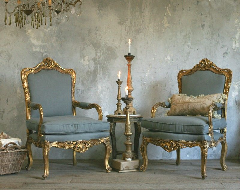 Vintage French Louis XV Style Gilt Ornate Rococo Armchairs Pair Antique Grey Upholstered