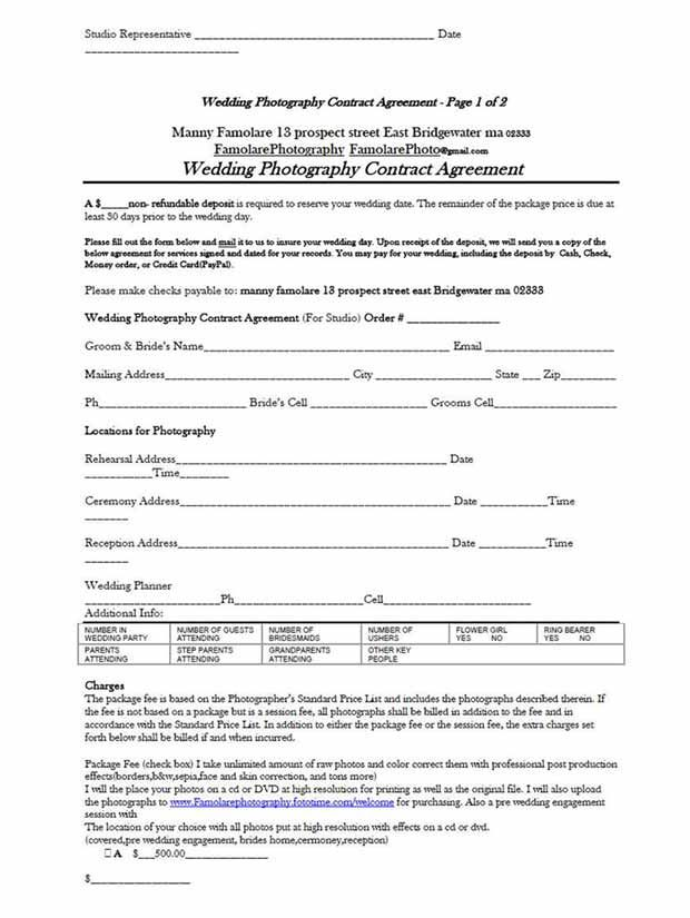 5 Free Wedding Photography Contract Templates Wedding Photography Contract Template Wedding Photography Contract Photography Contract