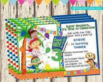creative super why birthday invitation  | Super Why Invitation Card- Birthday Invitation Card Super Why ...