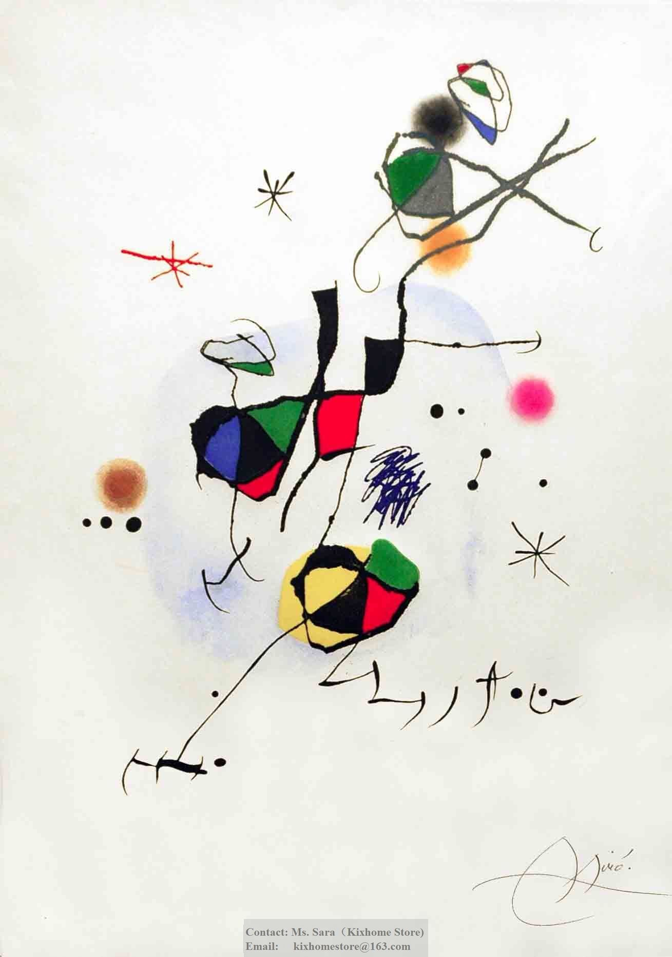 Wholesale Joan Miro- Els Castellers Etching and aquatint in colors oil canvas art, hand