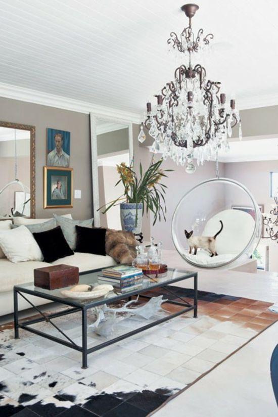 modernes Wohnzimmer Kristallkronleuchter-Sofa weiß Wohnideen - wohnzimmer in wei
