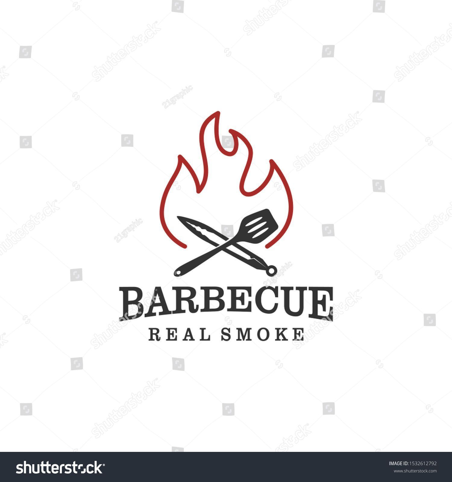 restaurant food drink logo design  barbeque fire meat sausage spatula element Barbecue bbq grill restaurant food drink logo design  barbeque fire meat sausage spatula ele...