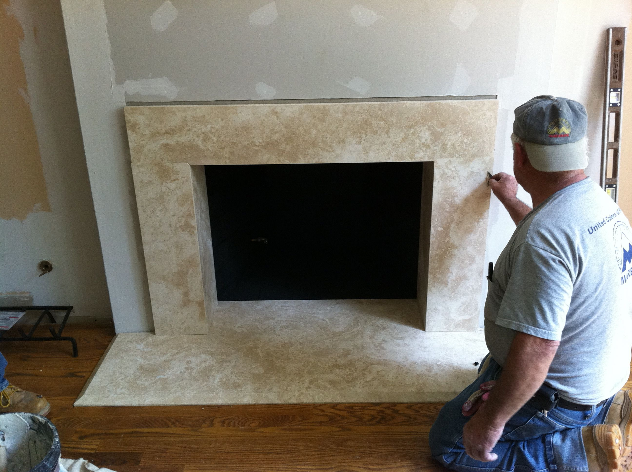 Fireplace Surrounds With Travertine Random Split Face Tiles Google Search
