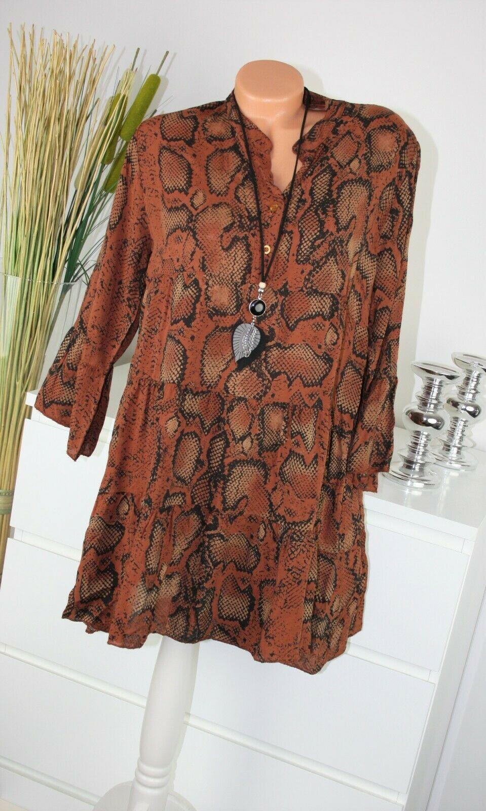 italy moda kleid reptil motiv kurz dress top shirt bluse