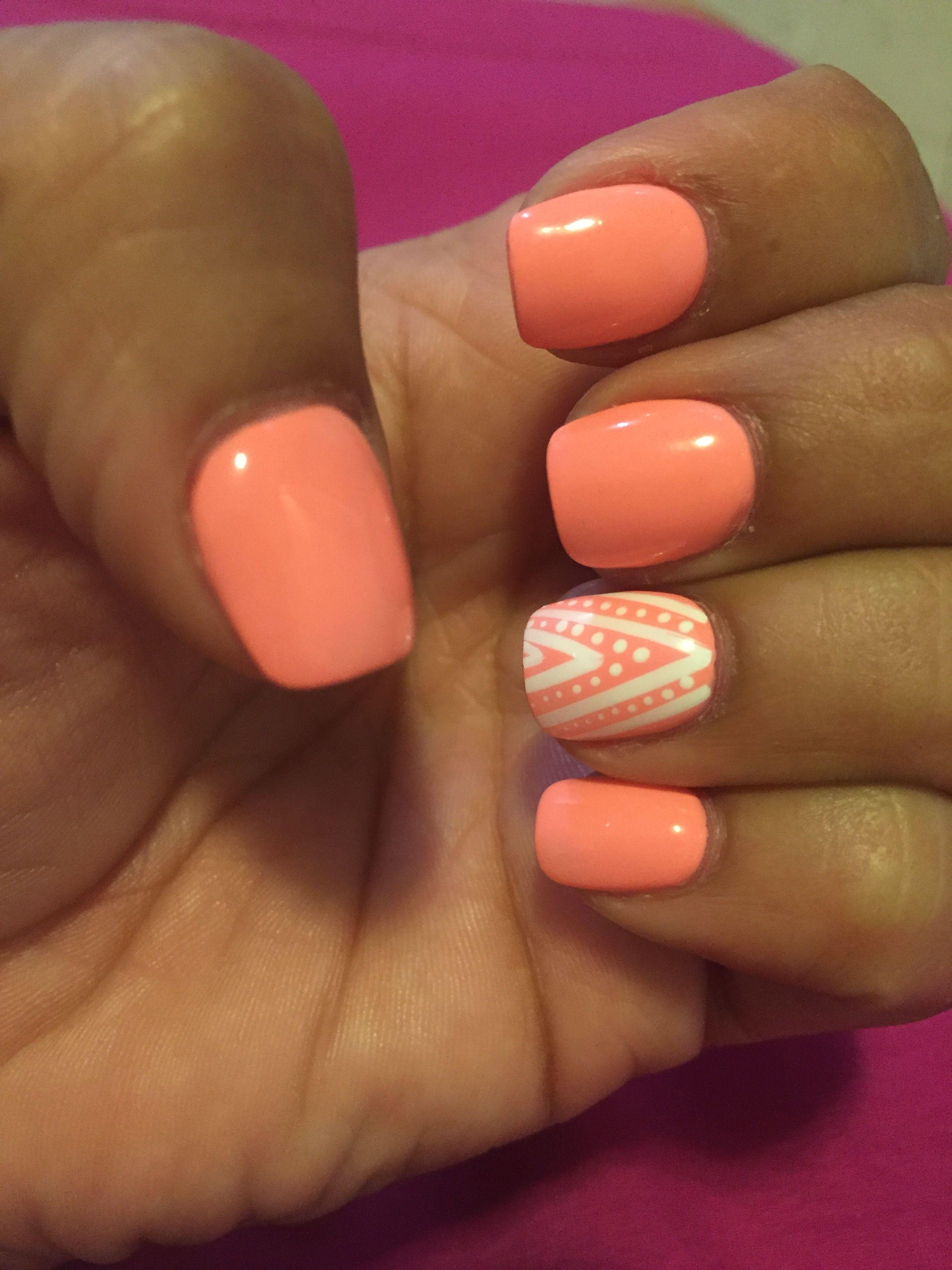 Coral Peach White Lines Dots Nail Design Coral Acrylic Nails Nails Acrylic Nail Designs