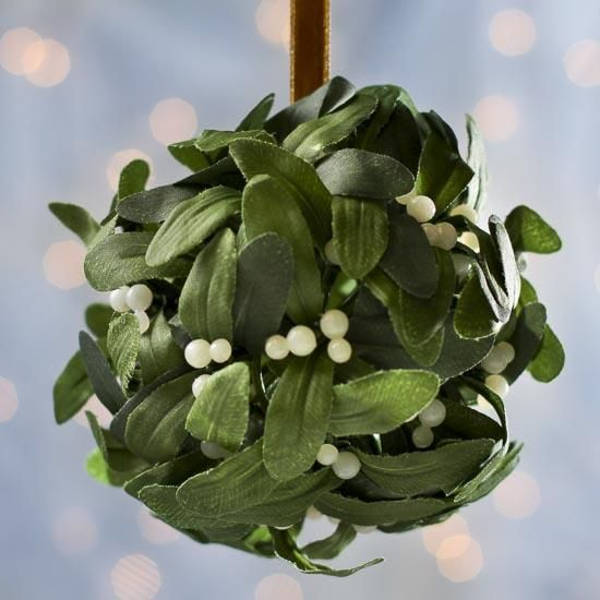 Mistletoe Ball Decoration Adorable Hanging Artificial Mistletoe Kissing Ball Ornament  Mistletoe Design Decoration