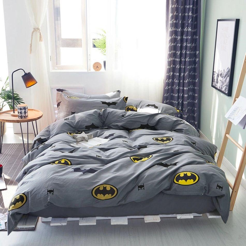 Batman Duvet Cover Set 100% Cotton Grey Duvet Cover Solid Color Bed Sheets  Cartoon Pillow
