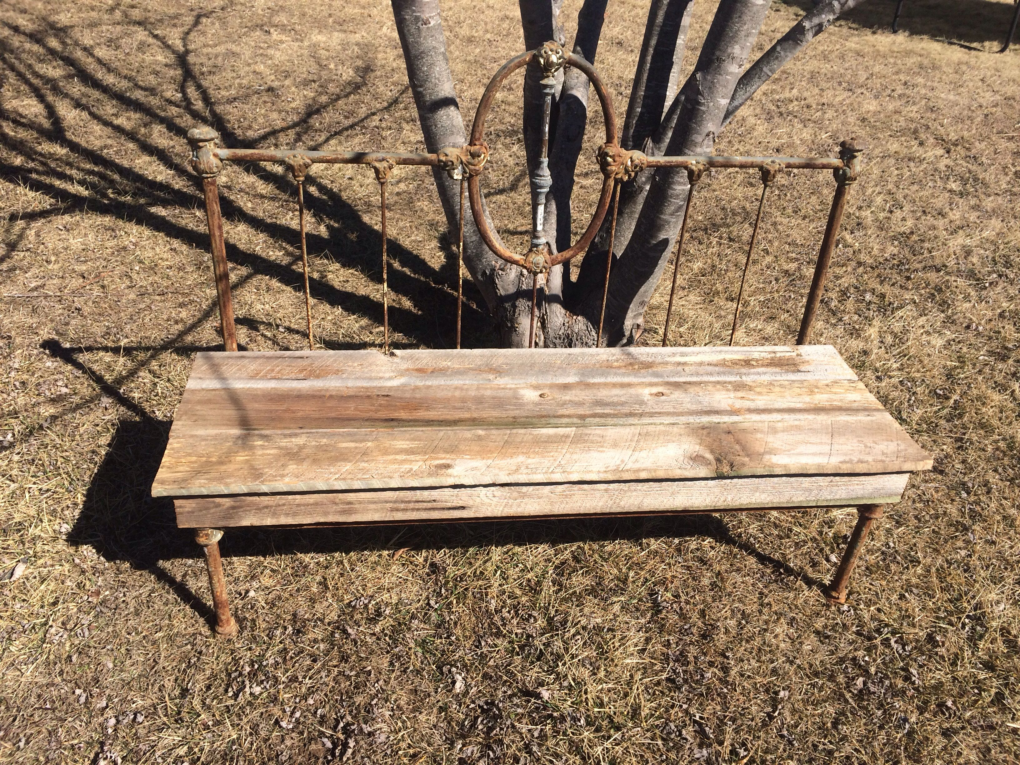 Barn Wood Headboard Bench Made From A Metal Head Board And Foot