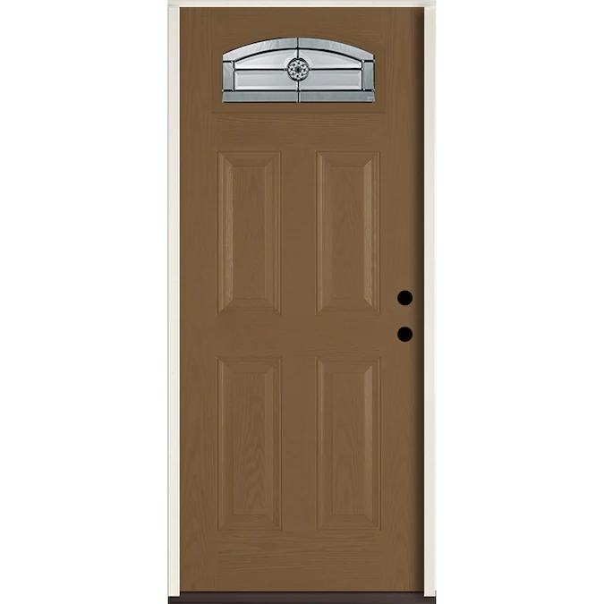 Reliabilt Elan 36 In X 80 In 1 4 Lite Decorative Glass Left Hand Inswing Woodhaven Stained Fiberglass Prehung Entry Door With Insulating Core Lowes Com In 2020 Entry Doors Stained Doors Glass Decor