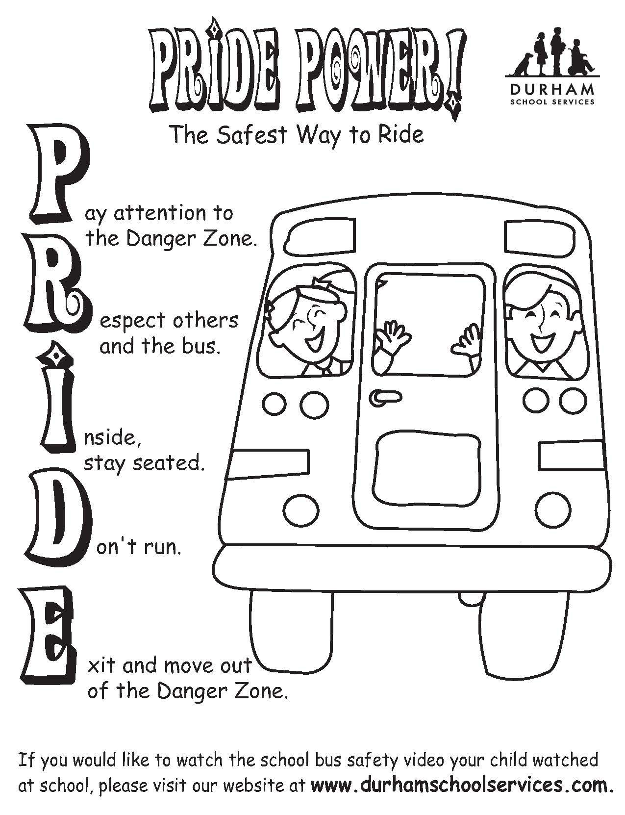 Pride Power Coloring Sheet School Bus Safety KID ZONE