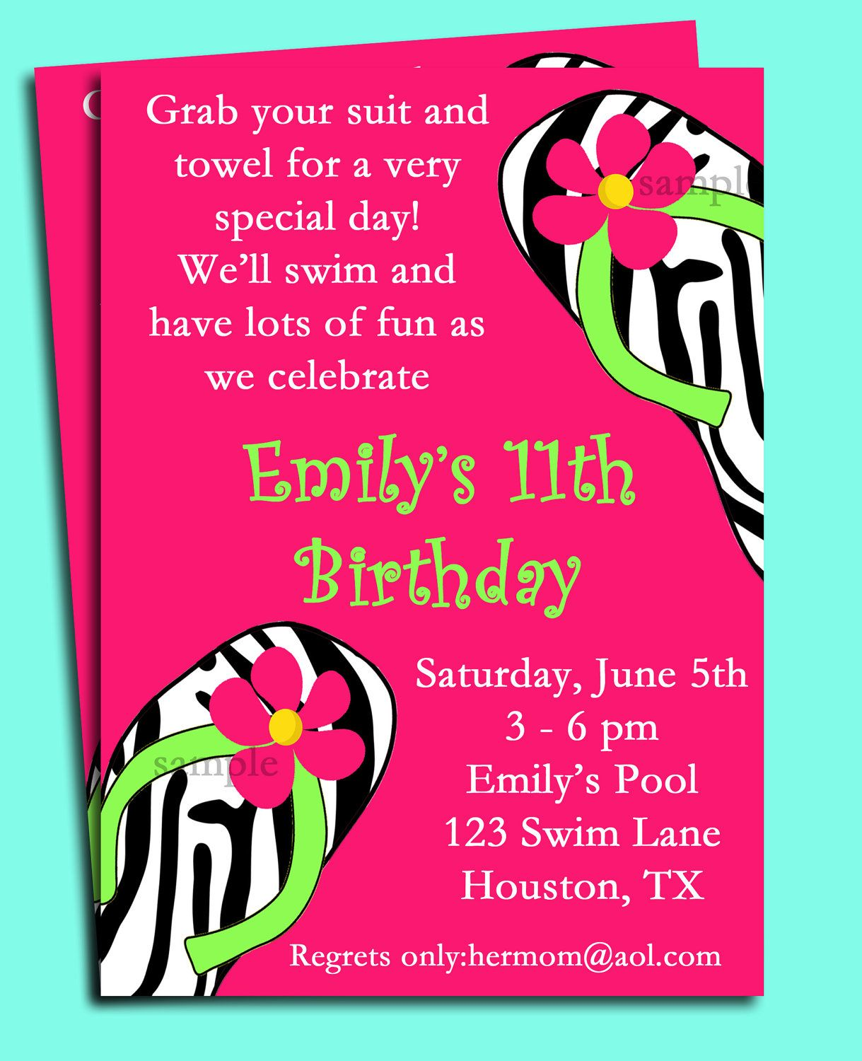 Pool Party Invitation Spa Party Invitation Swim Party Summer