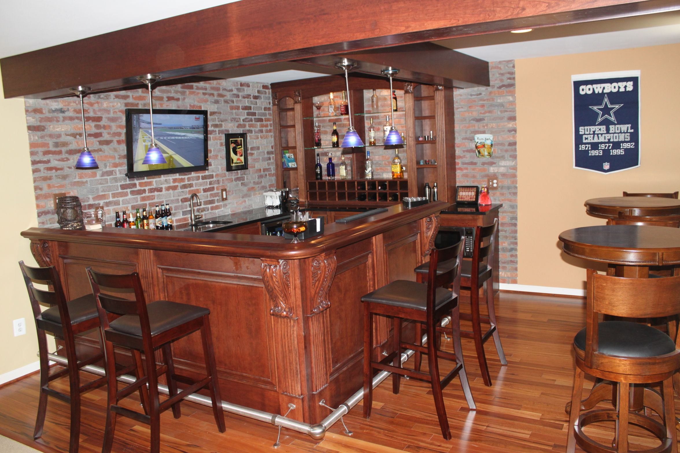 Beautiful Finished Basement Bar In Aldie. Custom Cherry Bar And Brick