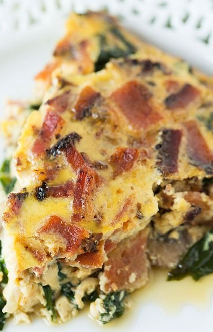 Crustless Bacon Spinach And Mushroom Quiche Recipe Recipes Quiche Recipes Brunch Recipes