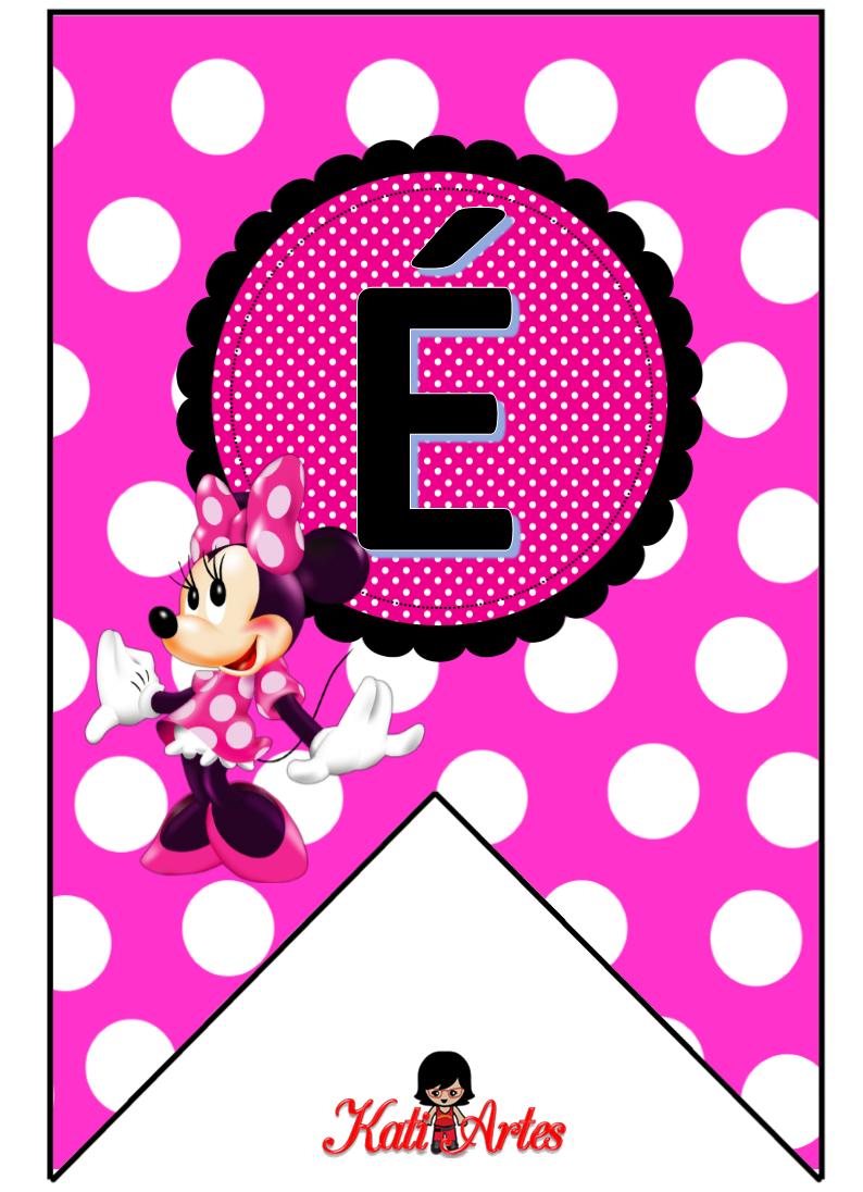 Bunting Minnie in Pink. Banderines con Alfabeto de Minnie Rosa.