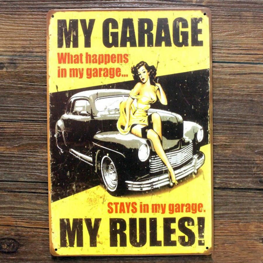 Vintage Style My Garage Decorative Metal Signs 20x30cm iron Painting ...