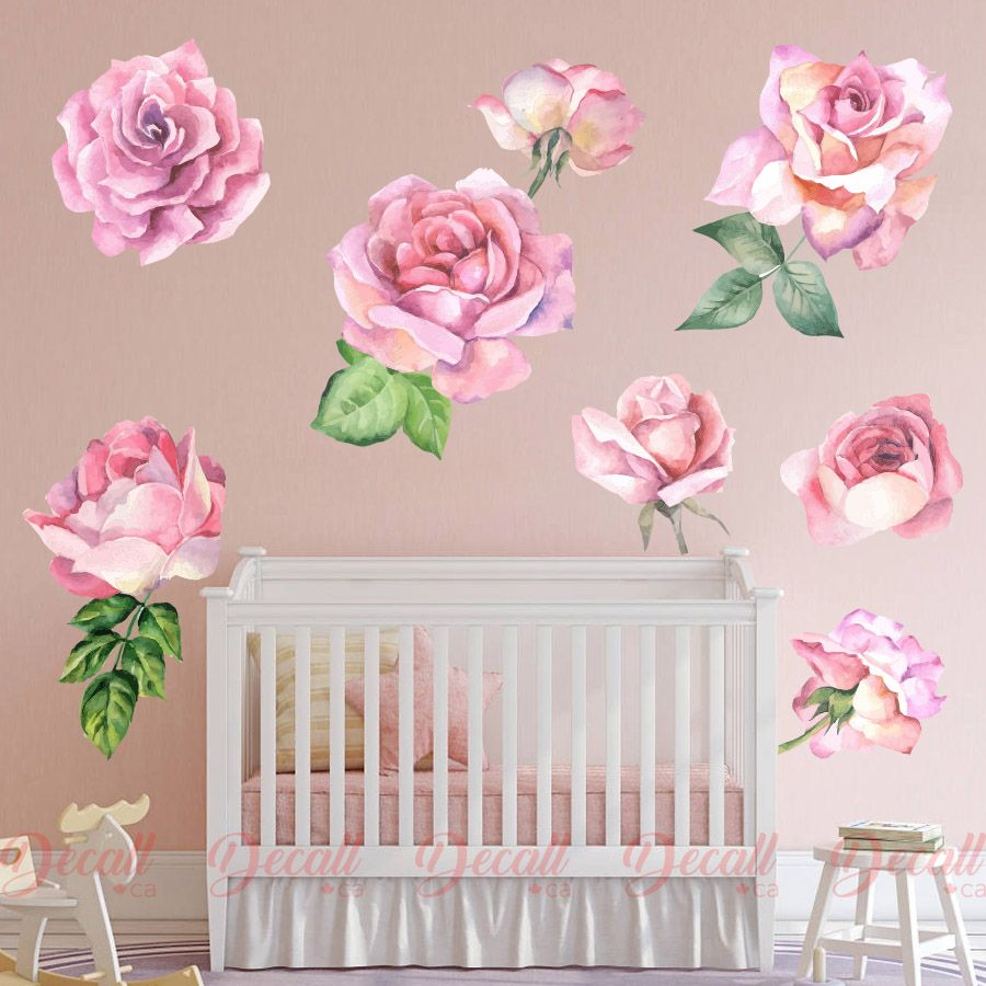 Romantic Pink Roses Vintage Watercolor Flower Wall Stickers