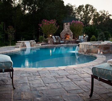 I like the fireplace behind the pool area.