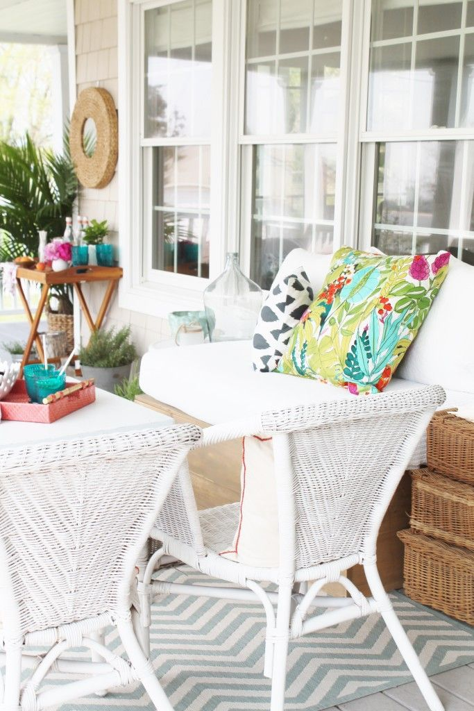 Summer Farmhouse Front Porch White Wicker & Colorful Accents