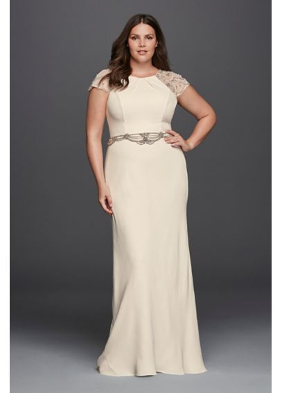 Plus Size Crepe Sheath Wedding Dress 8jp341608 And They Lived
