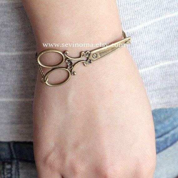 antique brass victorian scissors bracelet on sale by Sevinoma, $4.99