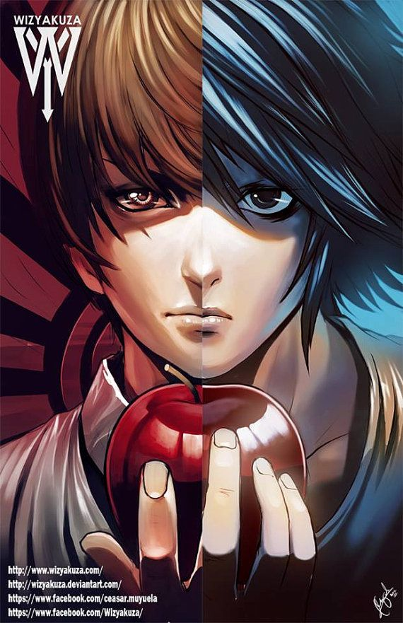 25 Half And Half Graphics You Ll Want In Your Life Anime Death Note Ilustracoes
