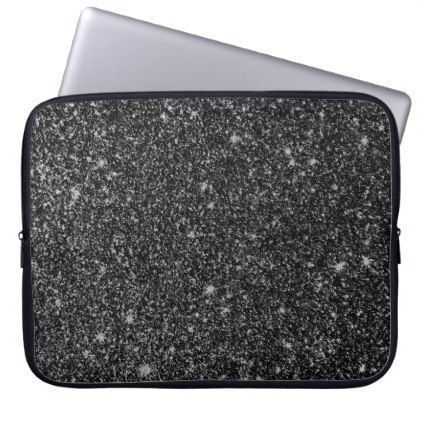 Black faux glitter texture computer sleeve  $34.30  by artOnWear  - cyo customize personalize unique diy idea #GlitterTexture