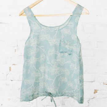 Beautifully soft silk orchid top, for a chic evening out or as a pretty alternative to pyjamas...