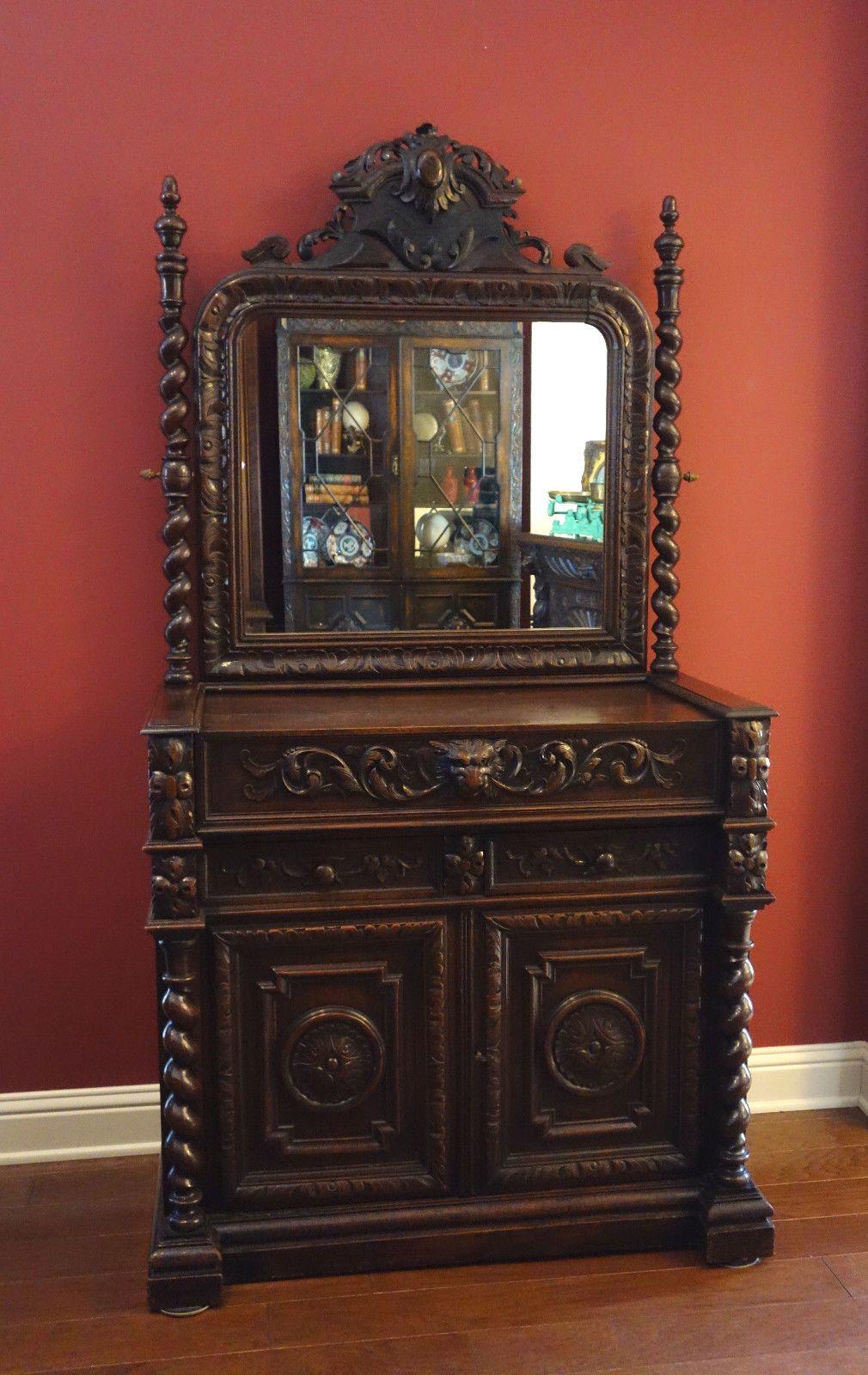 Antique French Carved Oak Dresser Chest