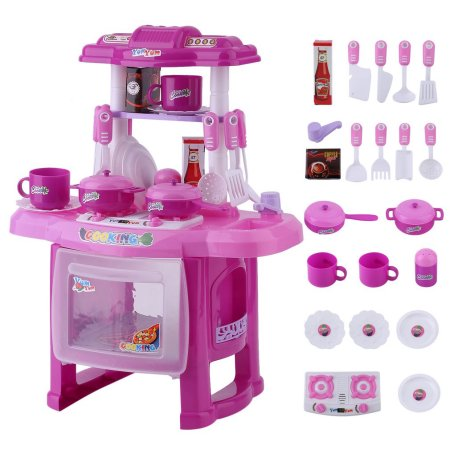 Little Girl Kitchen Sets Rooster Decor Simulation Kids Children Cooking Baby Girls Boys Pretend Play Toys Set Pink
