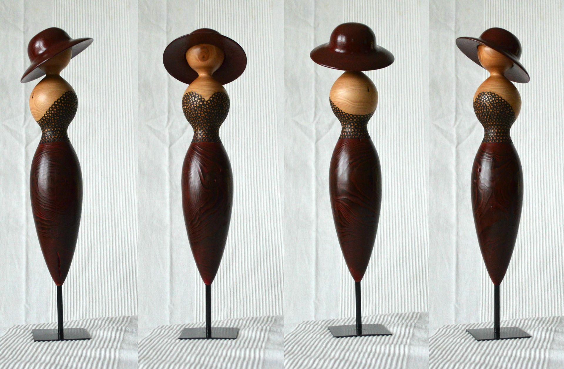 statue en bois de c dre tourn artisanalement accessoires de maison par lolotourneur tournage. Black Bedroom Furniture Sets. Home Design Ideas