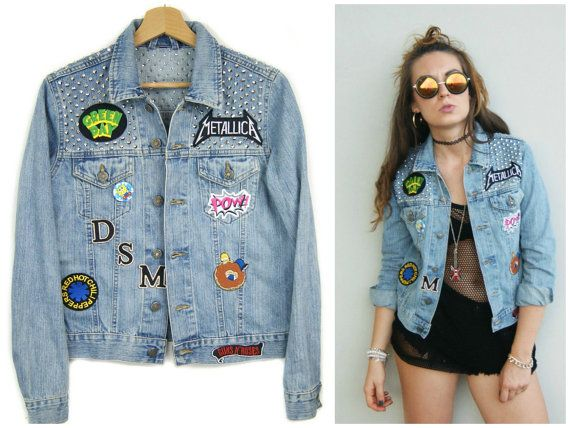 SLIPKNOT JACKET jeans denim jacket with studs handmade by DSMjeans