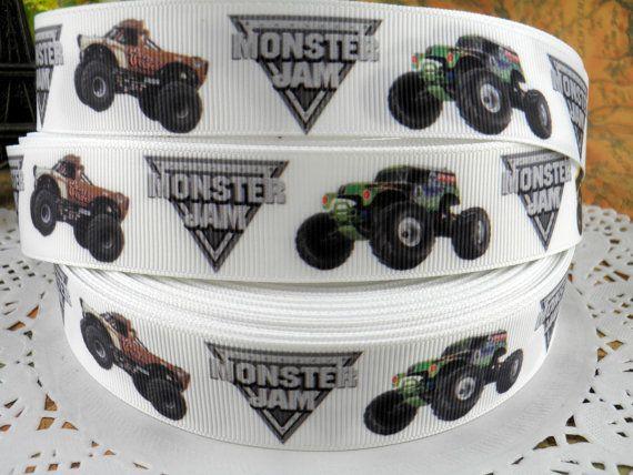 Monster Jam 1 printed grosgrain ribbon for Hairbow by fancypaper ...