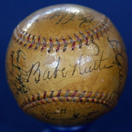 1934 Yankees Signed Baseball Whos On First Baseball Baseball
