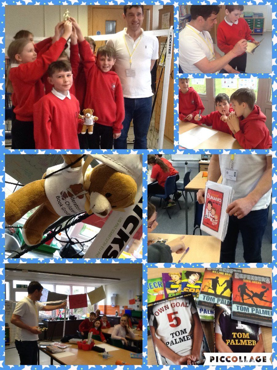 """Ysgol Croesgoch on Twitter: """"Class 3 spent a wonderful morning with author Tom Palmer, with reading activities, a question and answer session, a penalty shoot out and lots more! Inspiring for our young readers, diolch yn fawr Tom. @tompalmerauthor @JohnEvajohn59 #readingrocks… https://t.co/QbyufTotSZ"""""""