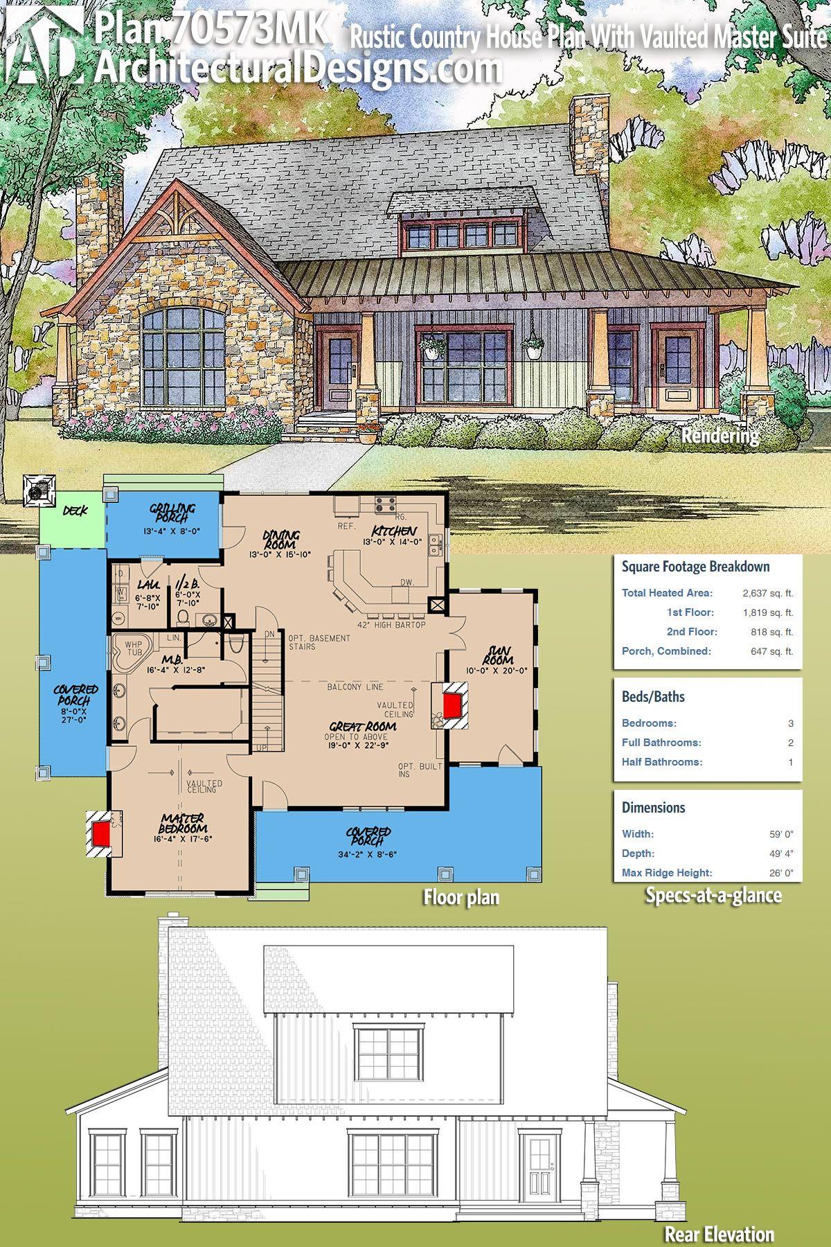 Photo of Plan 70573MK: Rustikaler Landhausplan mit gewölbter Master Suite