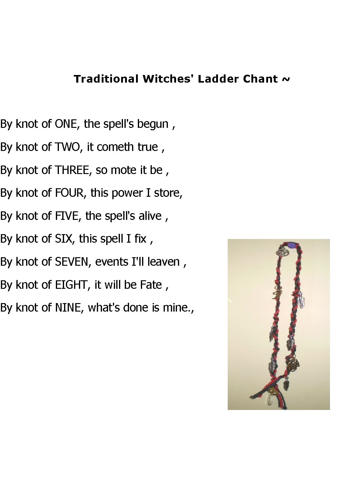 Traditional Witches Ladder Chant | Spirituality | Wiccan
