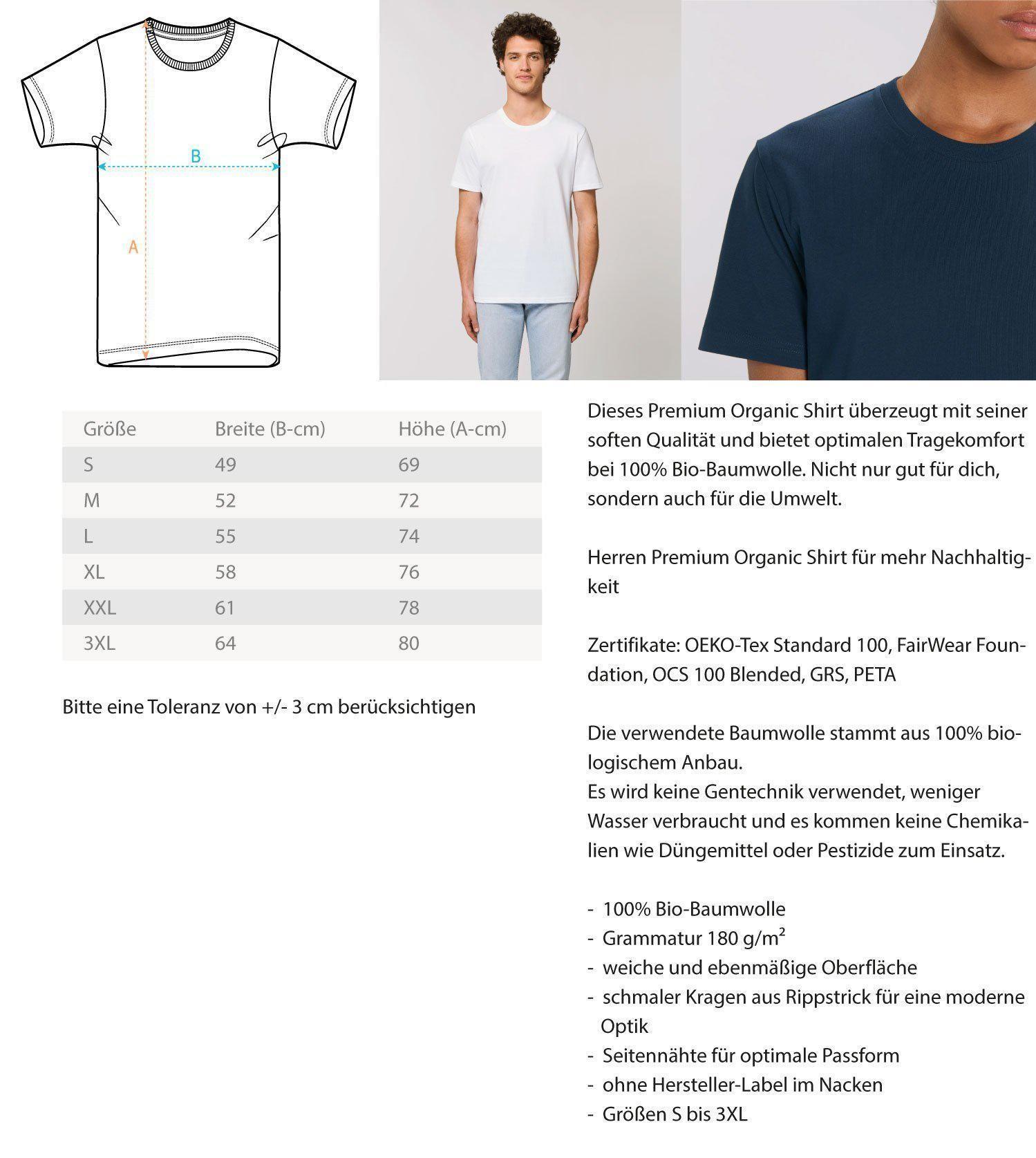 Dieses Premium Organic Herren Shirt überzeugt mit seiner soften Qualität und bietet optimalen Tragekomfort bei 100% Bio-Baumwolle. Nicht nur gut für dich, sondern auch für die Umwelt. Das Premium Organic Shirt eignet sich außerdem hervorragend als Geschenk für deine Liebsten, egal ob zum Vatertag, Muttertag, Weihnachten oder Geburtstag. Mit diesem einzigartigen Shirt sticht dein Geschenk ganz besonders heraus.  Nach erfolgter Bestellung wird dein Produkt exklusiv für dich unmittelbar produziert