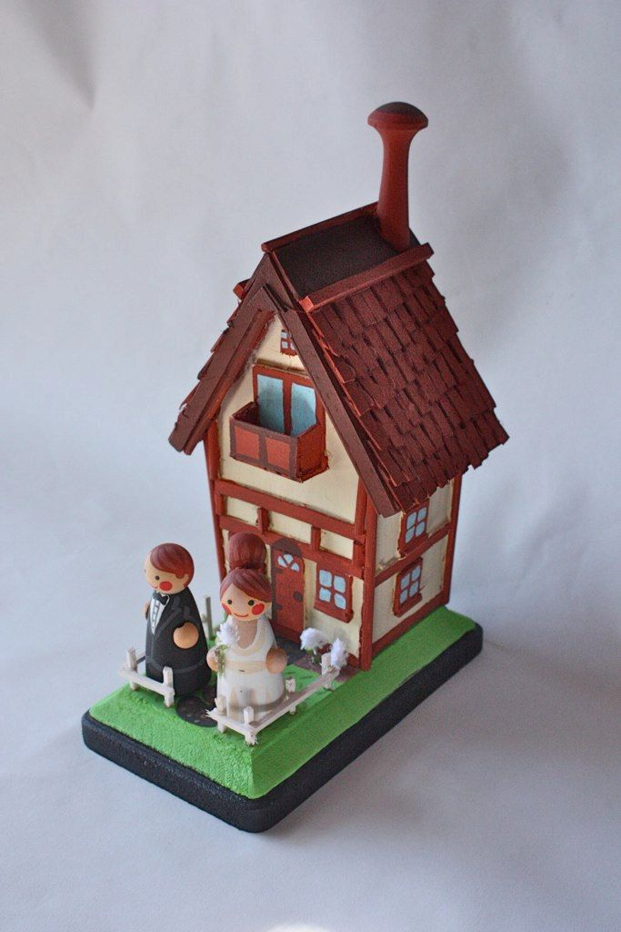 Old German Town Bride And Groom Wedding Cake Topper Or Wedding Gift