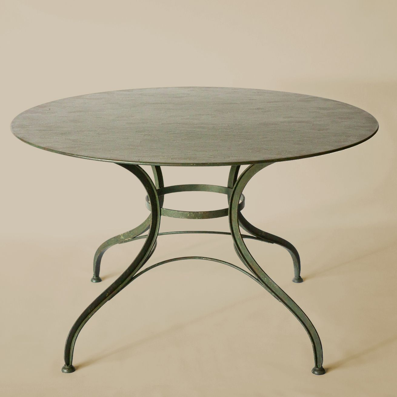 Rose tarlo 24 diameter antiqued green metal table