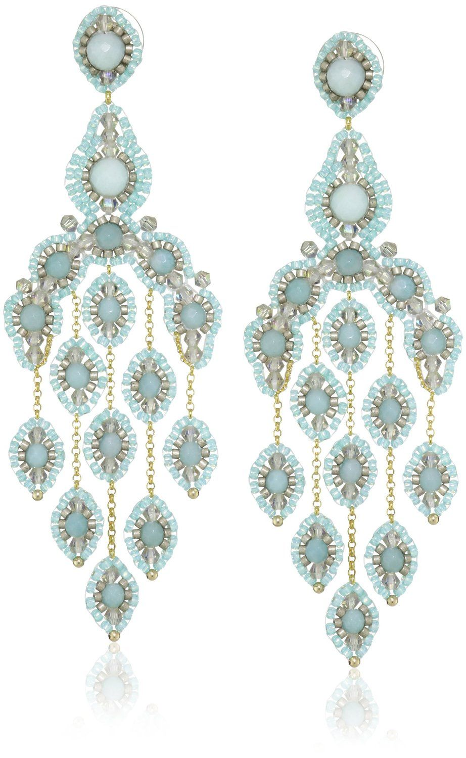 Amazon.com: Miguel Ases Gold-Filled Amazonite Cascading Drop Earrings: Jewelry