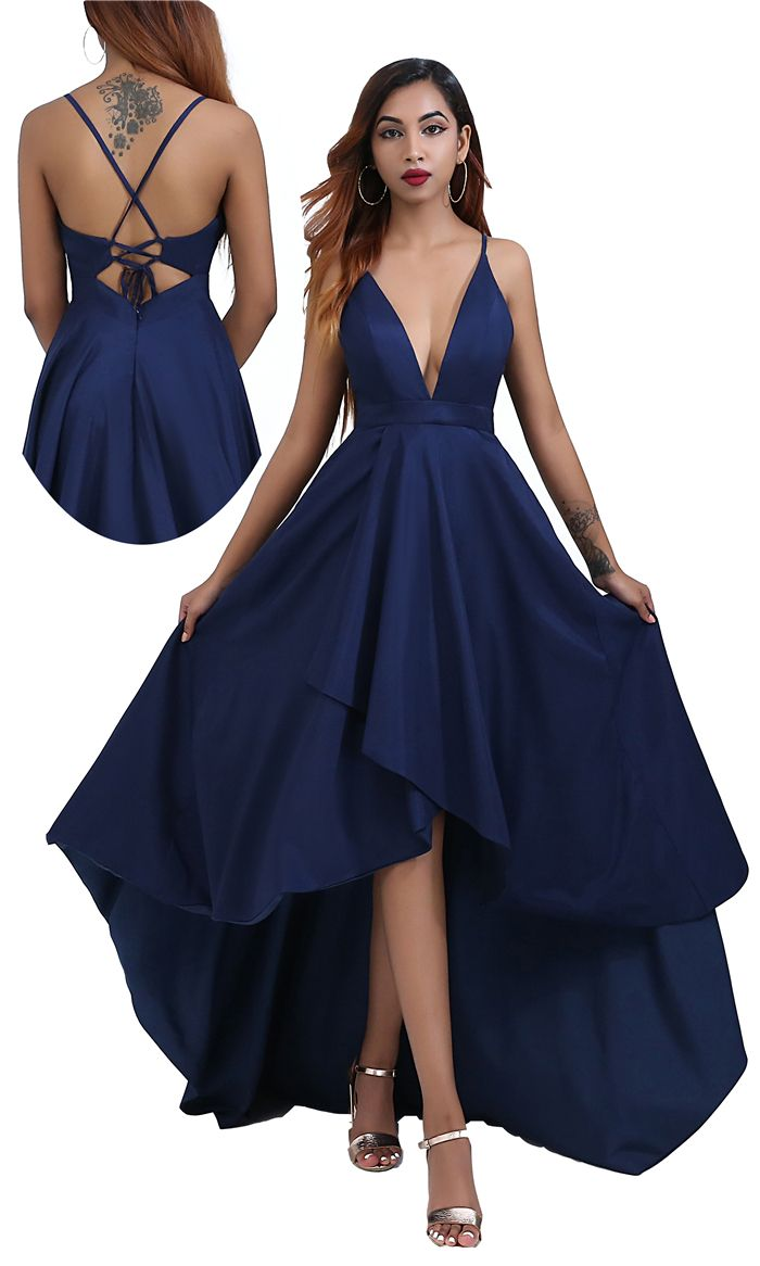 Free Shipping Asymmetrical Navy Blue Prom Dress with Tie Back from