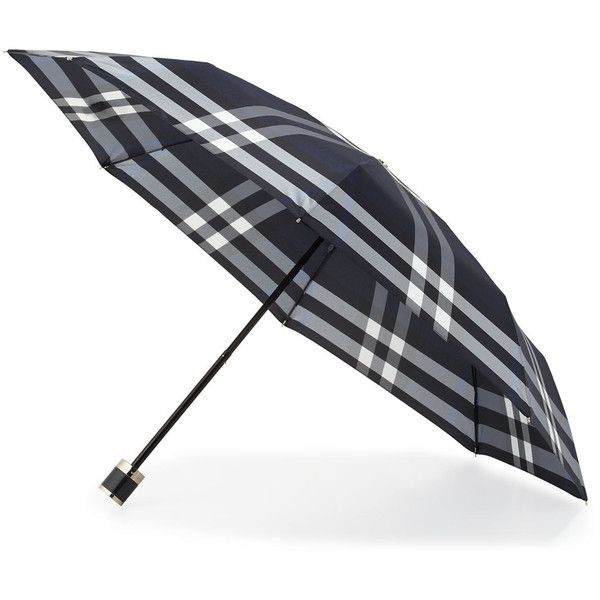 59f878e2cef7 Burberry Trafalgar Packable Check Umbrella ( 235) ❤ liked on Polyvore  featuring accessories