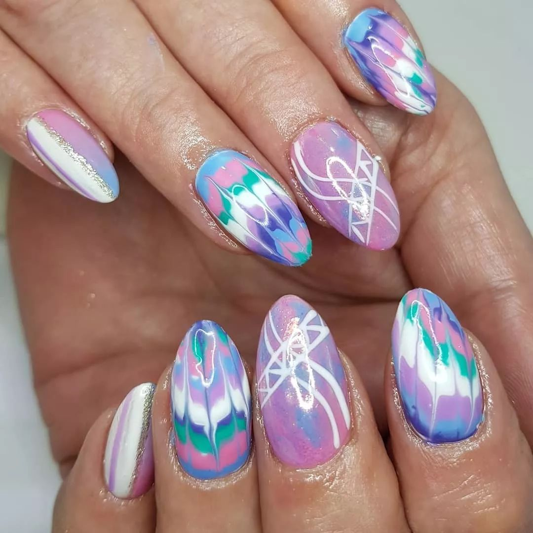 Tie Dye Nails Design Trends Autumn Winter Purple Pink Green Almond Manicure Manicure Nail Designs Tie Dye Nails Nail Designs