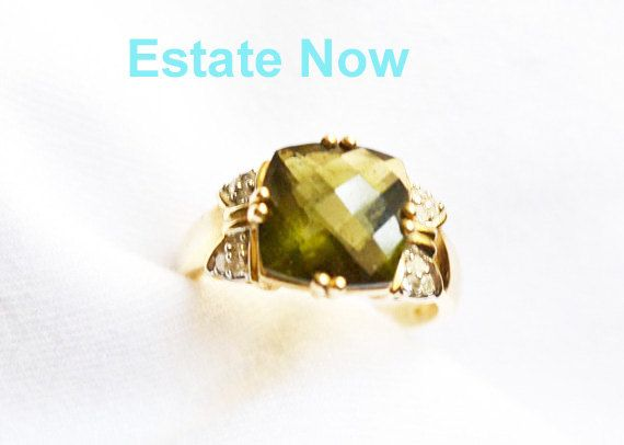 Vintage 10 K Gold Ring Size 7 5 Green Stone & by ESTATENOW
