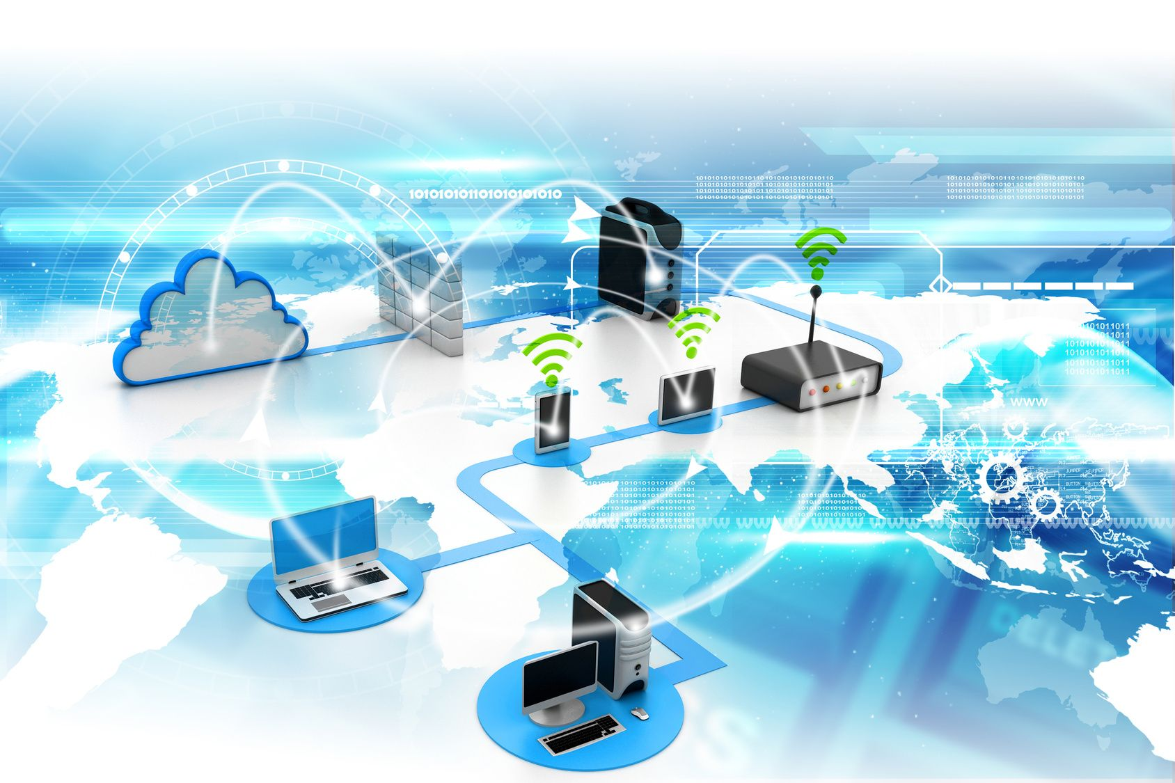 Digital illustration of Cloud computing devices WiFi