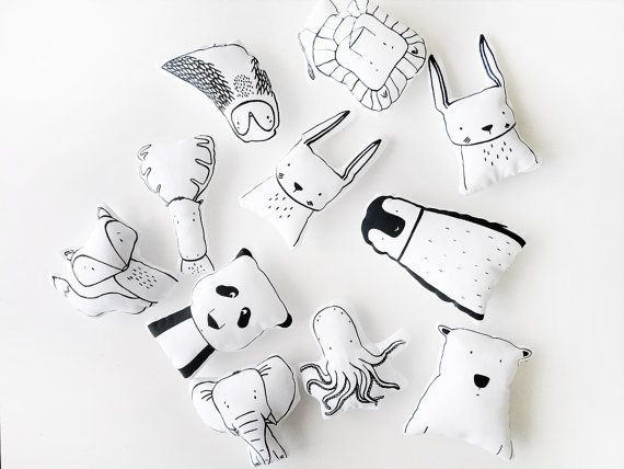 Modern Soft Toy Pillow Hand Printed 100 Cotton Stuffed Toy By The Wild Kids Pillows Handmade Toys Fabric Toys