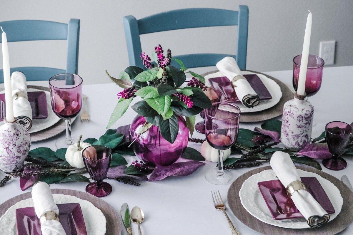Purple Thanksgiving Tablescape Thanksgiving Table Decorations Table Decorations Decor