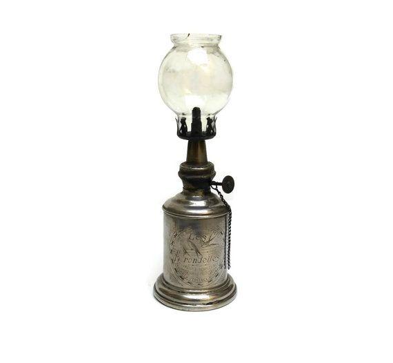 Antique Petrol Lamp. French Pigeon Lamp. Les Hirondelles