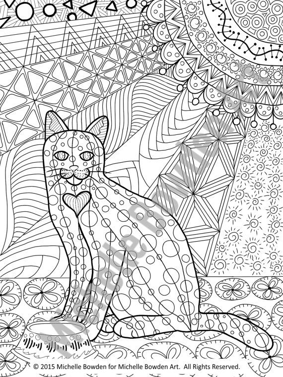 This Is An 8 5 X 11 Coloring Page Download Inspired By My Original Zendoodle Called Anticipation Of Noms Cat Coloring Page Coloring Pages Dog Coloring Page