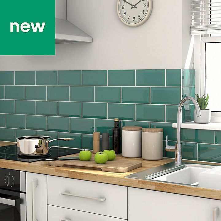 Trentie Dark Green Bevelled Edge Ceramic Wall Tile Pack Of ...
